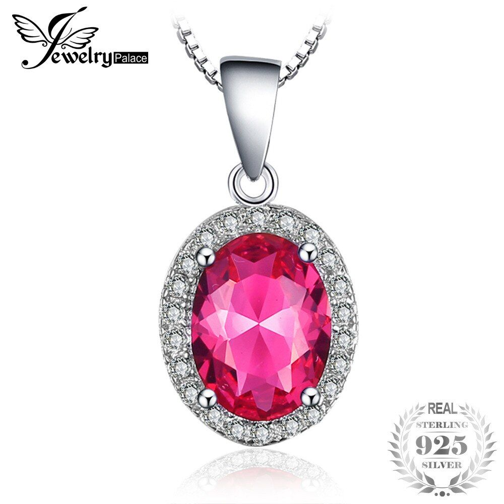 JewelryPalace Classic 2ct Created Pink Sapphire 925 Sterling Silver Halo Pendant Not Include a Chain Fine Jewelry For Women