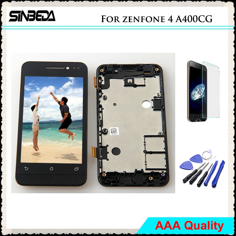 Sinbeda AAA No Dead Pixel LCD Screen For ASUS Zenfone 4 A400CG LCD Display+Touch Screen Digitizer With Frame Assembly For A400CG