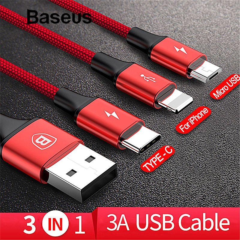 Baseus 3in1 2in1 USB Câble pour iPhone X 8 7 6 Câble Micro USB Type C Câble pour Samsung S9 s8 Rapide De Charge Câble 3A Chargeur Cordon