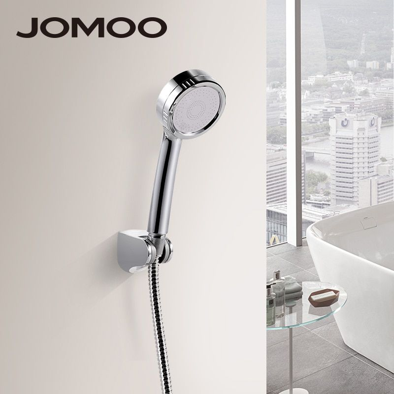 JOMOO ABS Chrome Finish Bathroom <font><b>Shower</b></font> Set High Pressure <font><b>Shower</b></font> Head With Stainless Steel <font><b>Shower</b></font> Hose And Wall Bracket