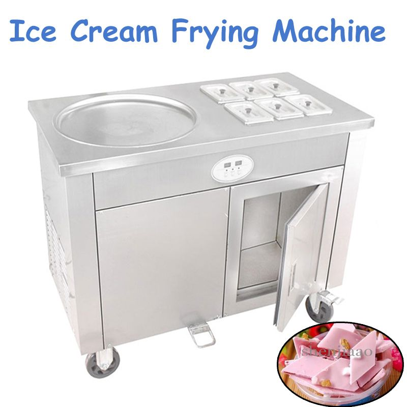 Commercial Fried Ice Cream Maker Roll Fried Yogurt Machine with 400mm Pot and 6 Cold Storage Buckets Fried Milk Roller CBJY-1D6A