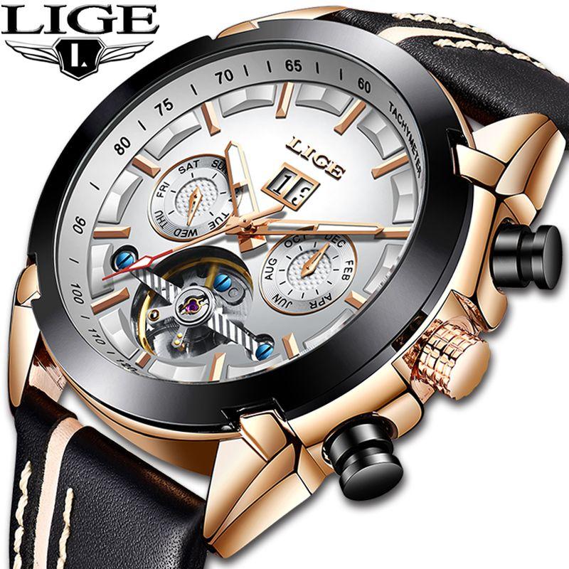 Relogio Masculino LIGE Top Marken Luxus Automatische Mechanische Uhr Männlichen Leder Wasserdichte Sport Uhr Männer Business Armbanduhr