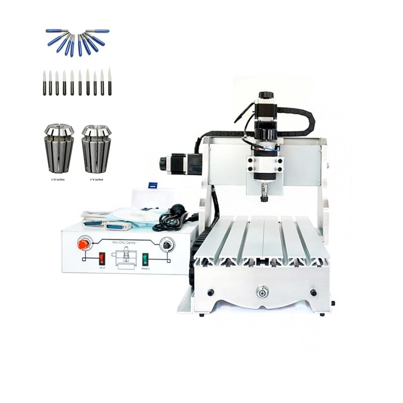 ball screw 3axis cnc machining 3020 300W spindle lathe wood router with free cutter er11 collet