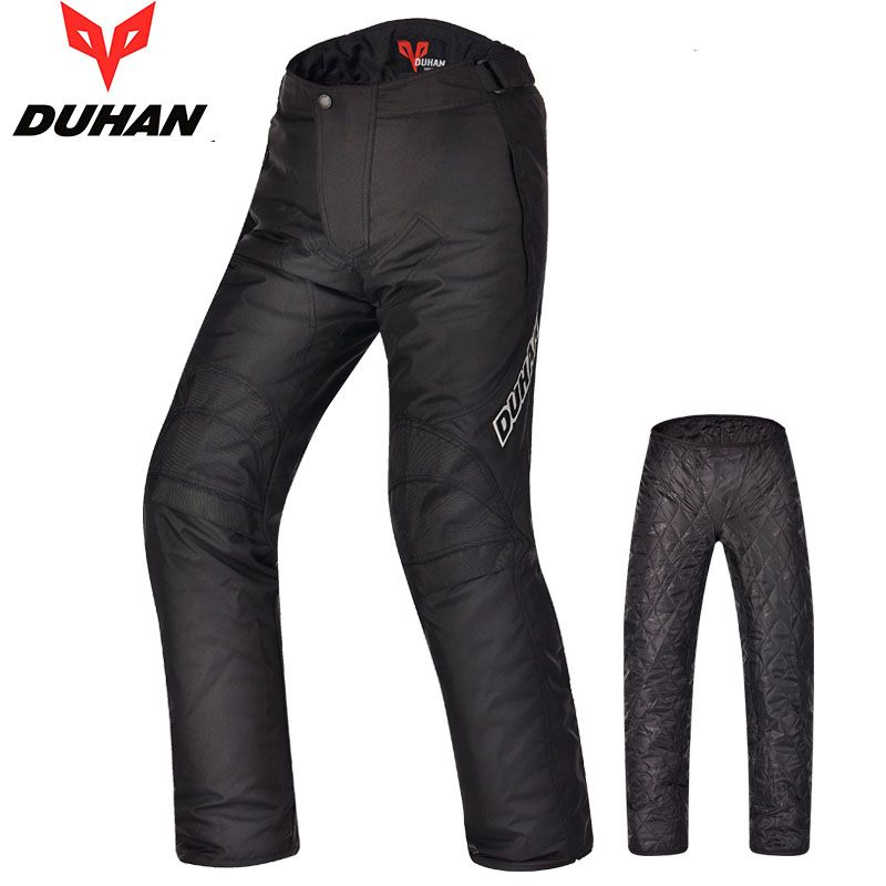 DUHAN Men Windproof Summer&Winter Pants Motorcycle Motocross Cycling Trousers Oxford Straight Motorbike Warm Long Pants