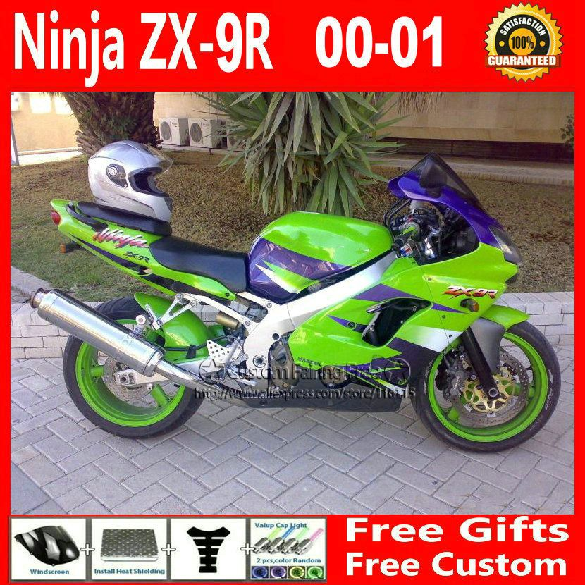 Compression mold bodykit for Kawasaki fairing kits ZX9R 2000 2001 ZX 9R 00 01 Ninja customize green purple body parts+7Gifts