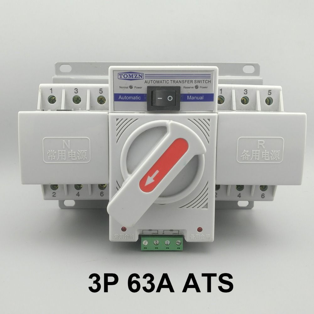 3P 63A 380V 50/60hz 3 wire MCB type Dual Power Automatic transfer switch ATS