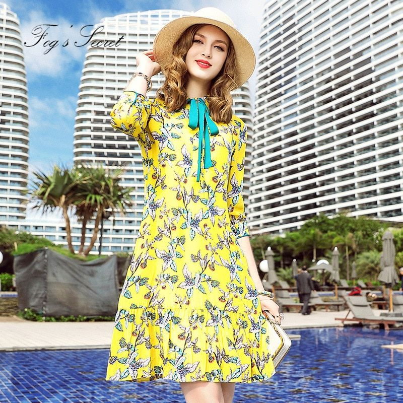 Brand Real silk dress For Female For 2018 Women's Silk Print Yellow Flower Slim Dresses young vitality