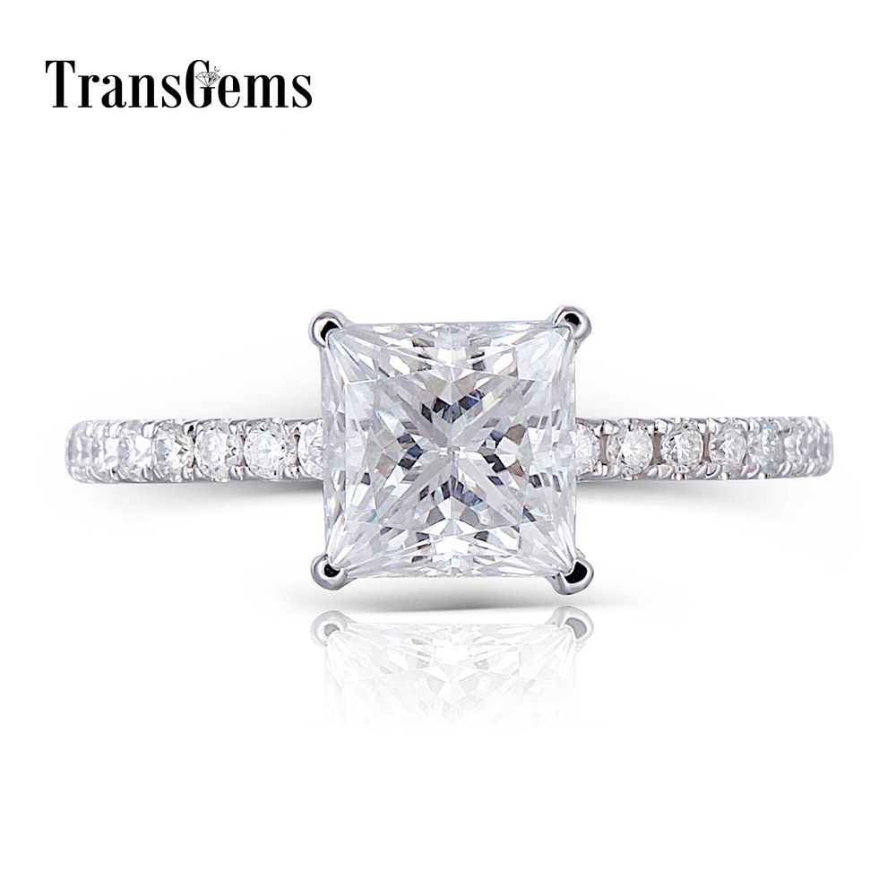 1Transgems 18K 750 White Gold Princess Cut FG Color Moissanite 6.5MM 1.5CT Under Halo Engagement Ring for Women with Accents