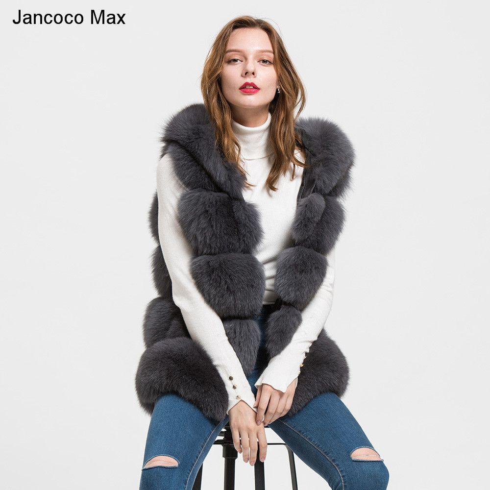 Jancoco Max 2018 Hooded Fox Genuine Fur Vest Women's Winter Gilet Girls Ladies Fashion Fur Waistcoat Coat S1715