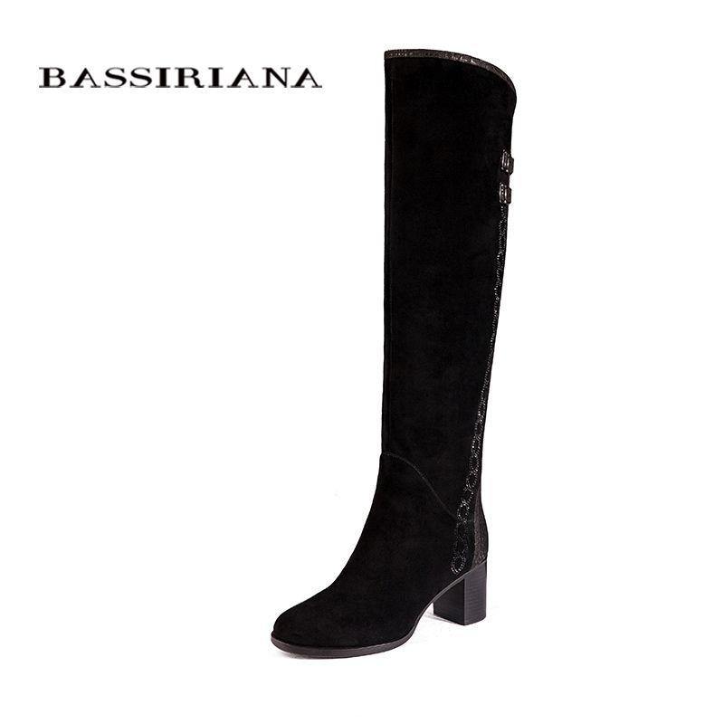 Over-the-genou Véritable bottes en cuir femmes D'hiver chaussures femme Noir suede Zip 35-40 Haute qualité livraison gratuite BASSIRIANA
