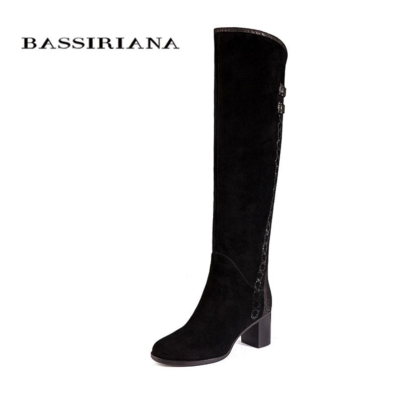 Over-the-knee Genuine leather boots women Winter shoes woman Black suede Zip 35-40 High quality Free shipping BASSIRIANA