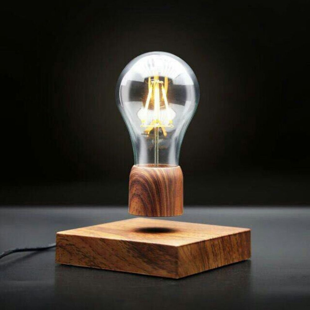 ICOCO Magnetic Wood Levitating Floating Wireless Bulb Lamp for Unique Gifts Room Decor Night Light Home Office Desk Tech Toys