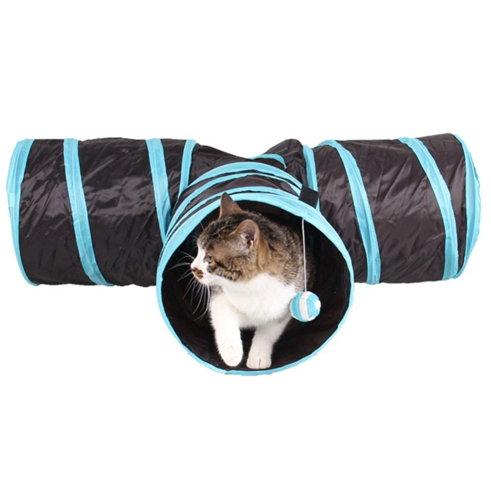 Foldable 3 Holes Pet Cat Tunnel Toys Indoor <font><b>Outdoor</b></font> Pet Cats Training Toy Kitten Rabbit Funny Cat Tunnel House Toys