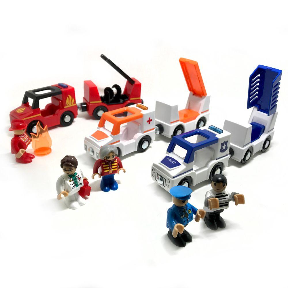 Livraison gratuite son et lumière de train magnétique voiture ambulance voiture de police camion de pompiers compatible brio piste en bois jouets pour enfants