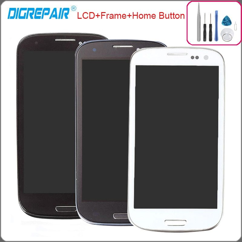 4.8 inch For Samsung Galaxy S3 i9300 LCD Display Touch Screen Digitizer with Home Button Assembly+Bezel Frame Repalcement Parts