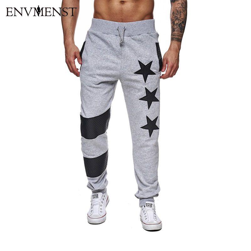2017 herbst Herren Sportswear Hosen Stern Gedruckt Männer Hosen Hosen Elastische Streifen Hosen Jogginghose Jogger Pantalones