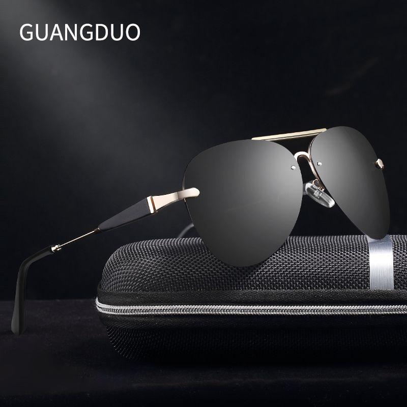 GUANGDU aluminium magnésium lunettes de soleil polarisées hommes pilote miroir lunettes de soleil mâle pêche lunettes de soleil femme pour hommes lunettes de soleil