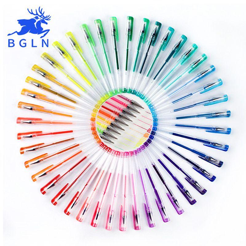 Bgln 24/48/60/100 couleurs Gel stylo Set recharges Gel encre stylo métallique Pastel néon paillettes croquis dessin couleur stylo Art papeterie