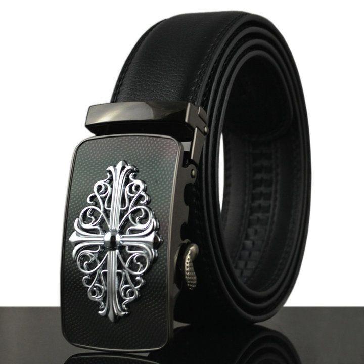 2016 moda de cuero real cinturón 110-130 cm negro de lujo diseñador de los hombres automático cinturones pretina, KB-10