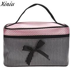Cosmetic Bag Bowknot Dots Printing Satin Hot Sale Makeup Bags Cute Stripe Fashion Toiletry Bag Organizer Sac Maquillage #9518