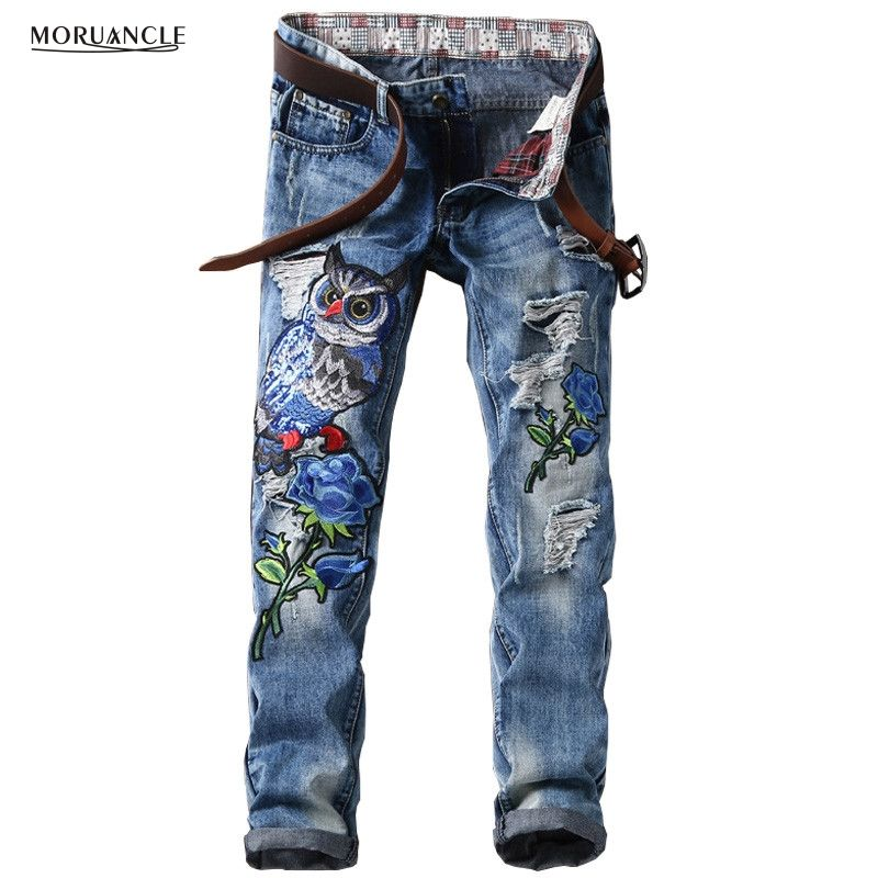 MORUANCLE New Fashion Men's Ripped Patches Jeans Slim Fit Eagle Embroidered Denim Pants Male Distressed Hip Hop Jean Trousers