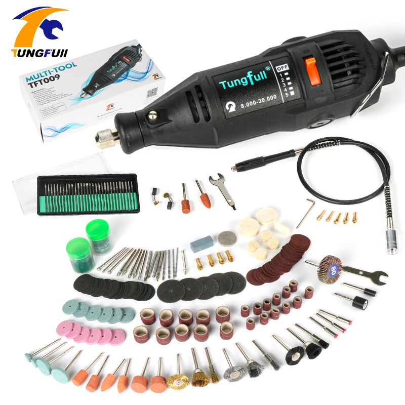 Dremel Style Electric Rotary Tool Variable Speed Mini Drill with Flexible Shaft and 192PC Accessories Power Tools 110V 220V 130W