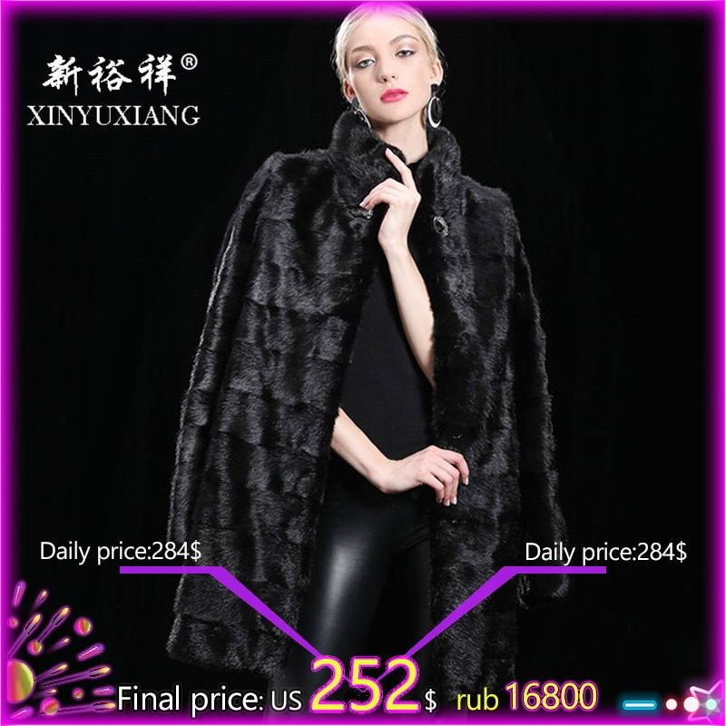 XINYUXIANG 90CM Detachable Real Mink fur coat women Winter thick warm Natural fur outwear Genuine Leather Real fur coat Female