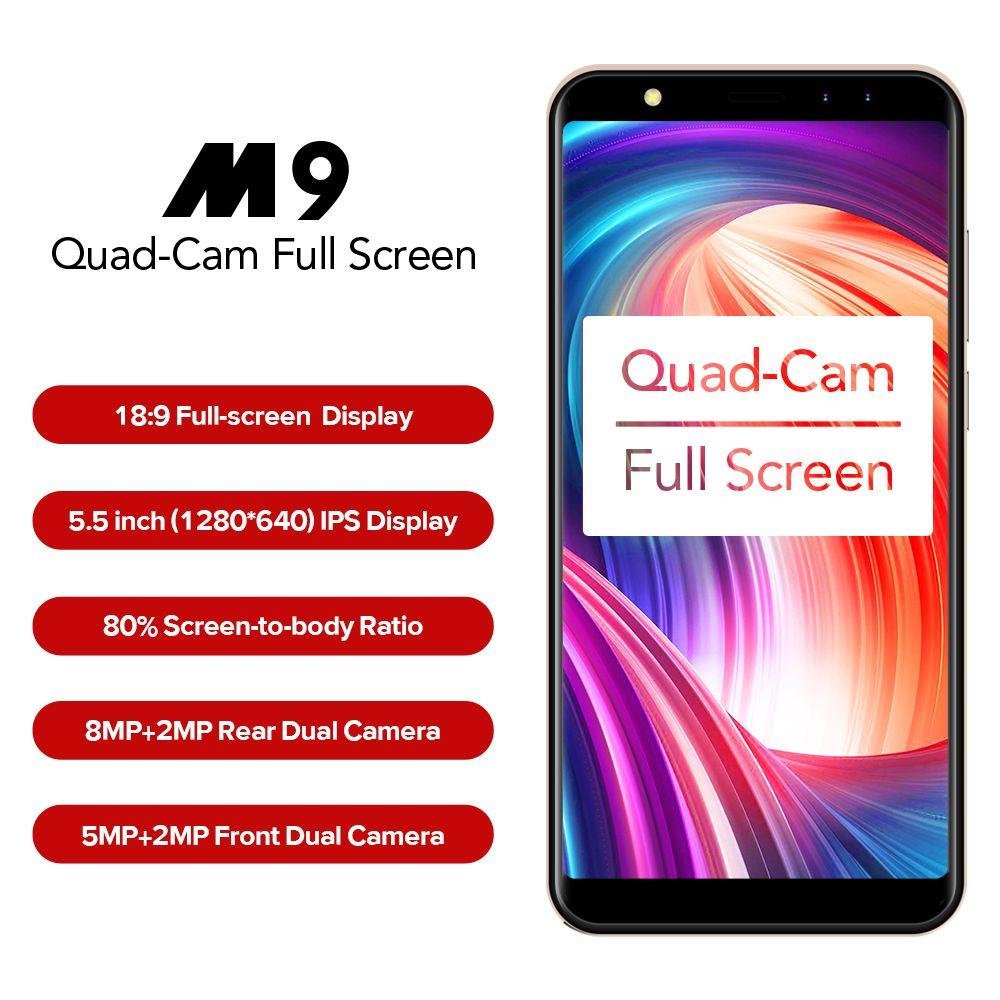 LEAGOO M9 Smartphone 5.5 <font><b>18:9</b></font> Full Screen Four-Cams 2GB+16GB Android 7.0 MT6580A Quad Core 2850mAh Fingerprint 3G Mobile Phone