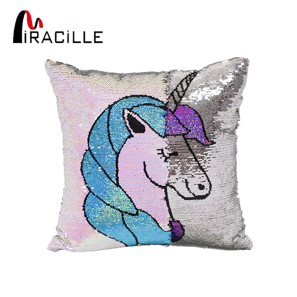Miracille Reversible Sequins Cartoon Unicorn Pattern Throw Pillow Case Home Sofa Decorative Cushion Covers 16x16 Drop Shipping