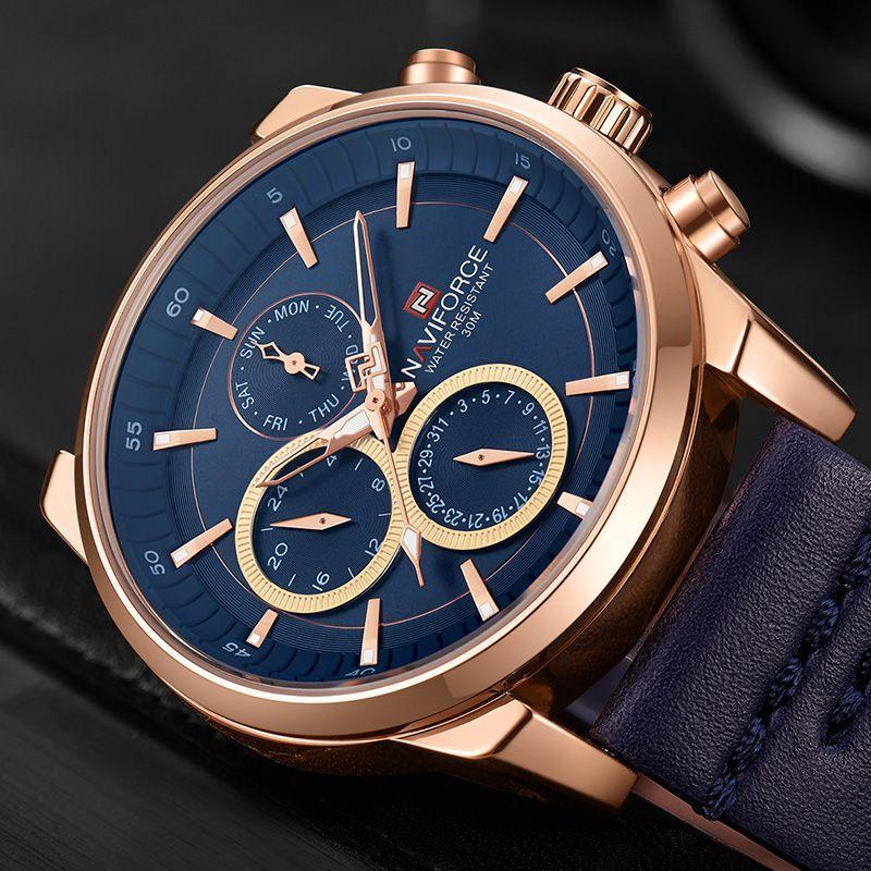 NAVIFORCE Men Watches Top Brand Luxury Leather Analog Quartz Movement Men Sport Watch Calendar Wristwatches Clock Montre Homme