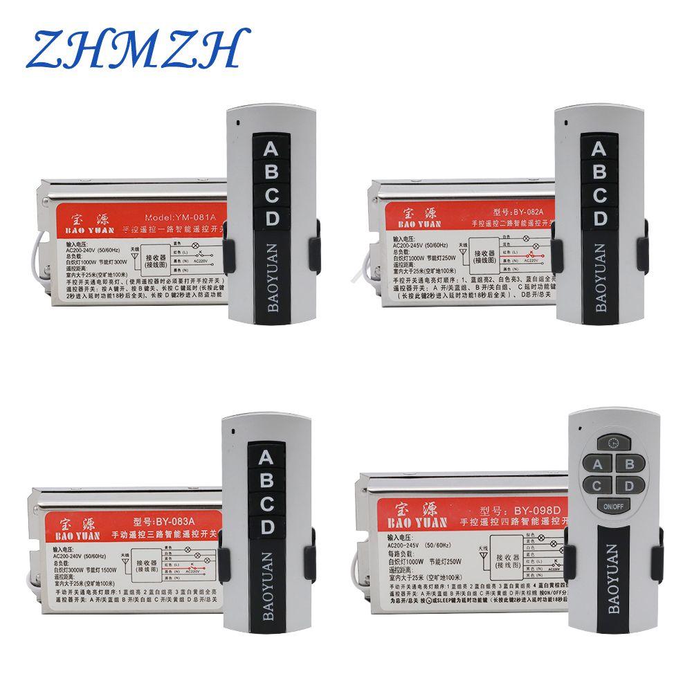 AC220V 4 voies 5 Sections cristal lampe télécommande interrupteur 1 voie 2 Sections télécommandes sans fil avec retard à travers le mur