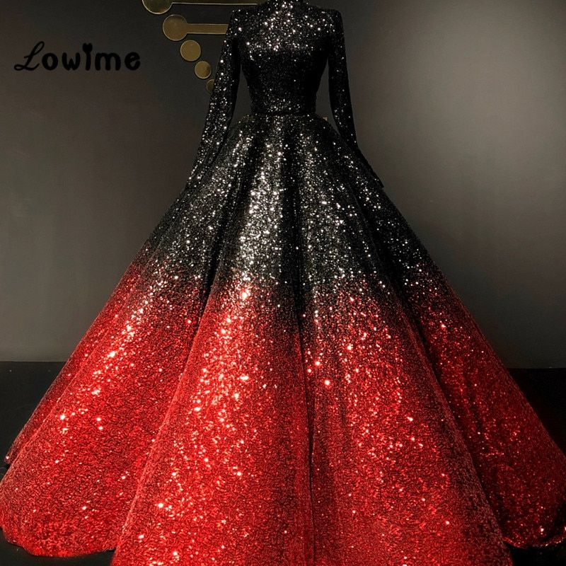 Black And Red Sequined Formal Evening Dresses 2018 Couture Long Sleeves Floor Length Prom Dress High Neck Shiny Party Dress Gown