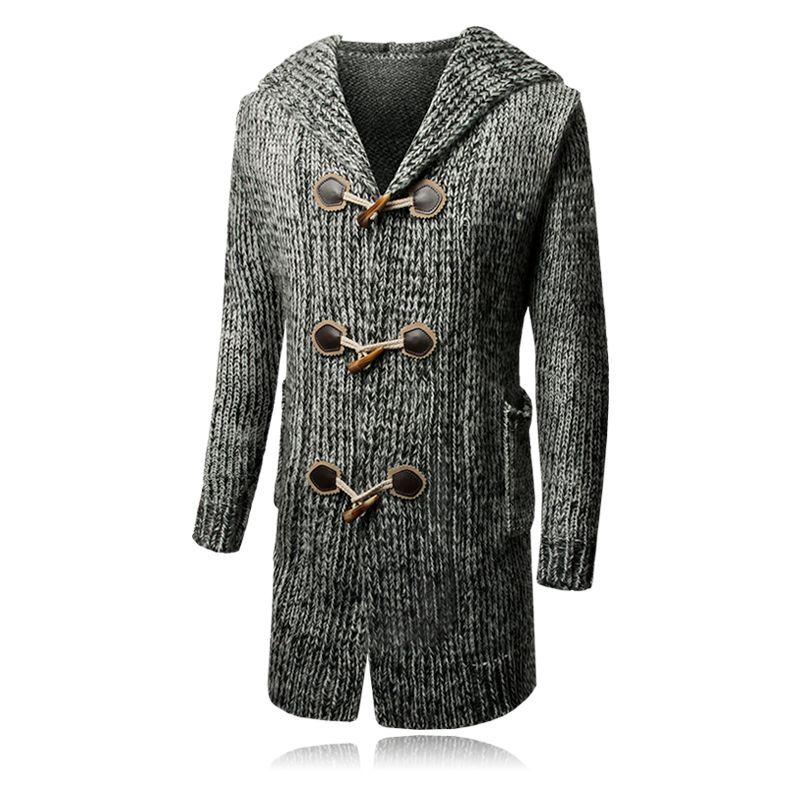Для мужчин с длинным трикотаж Тренч осень-зима Повседневное одежда с длинным рукавом Для мужчин с капюшоном Костюмы рога пряжки Для мужчин '...