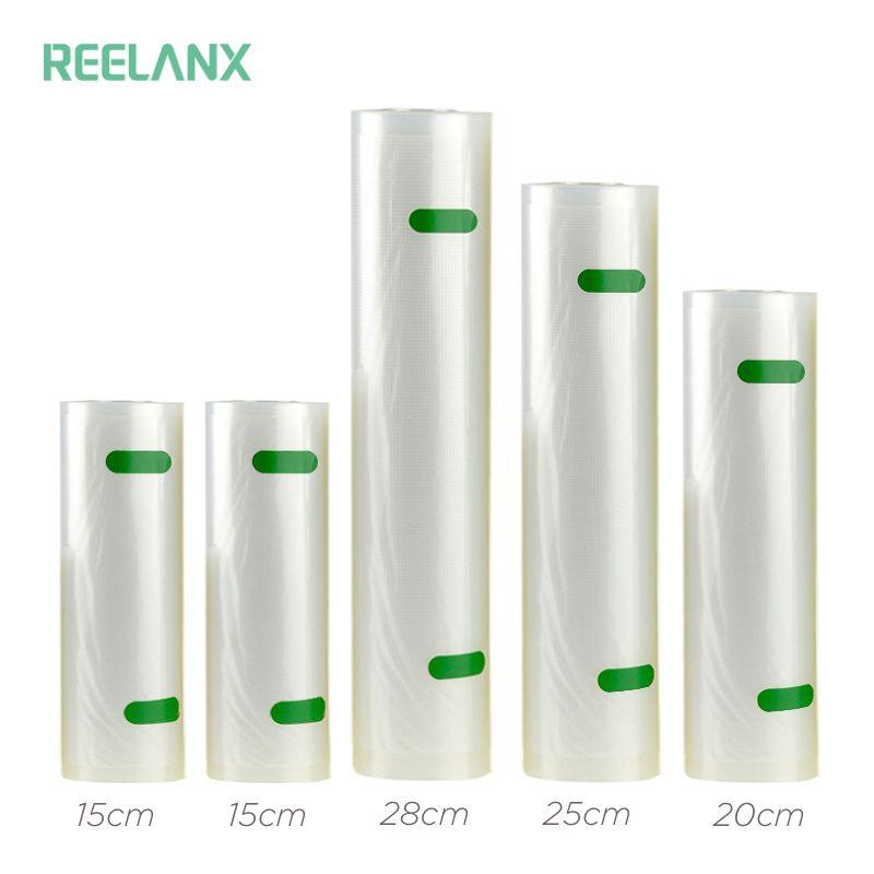 REELANX Vacuum Bags for Vacuum Packer 5 Rolls/Lot 15+15+20+25+28 * 500cm Storage Bag for Food Vacuum Sealer Packing Packaging
