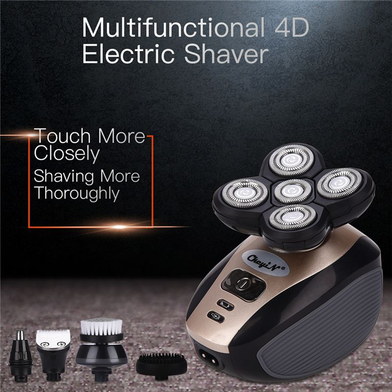 5in1 USB Rechargeable Electric Shaver 4D Floating Blade Razors Hair Clipper Nose Ear Hair Trimmer Men Facial Cleaning Brush P46