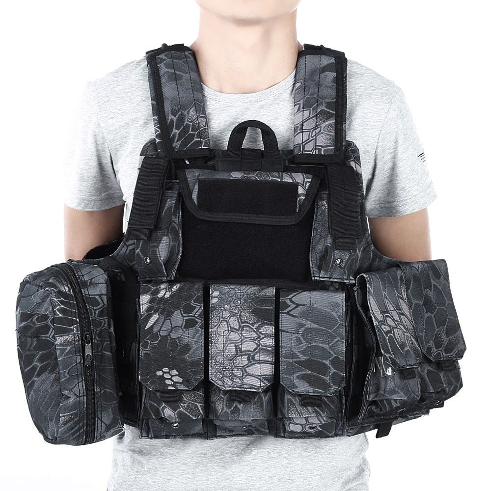 CS Tactical Hunting Vest Molle Military Waistcoat Assault Plate Carrier Vest Airsoft Paintball Combat Vest with Magazine Pouch