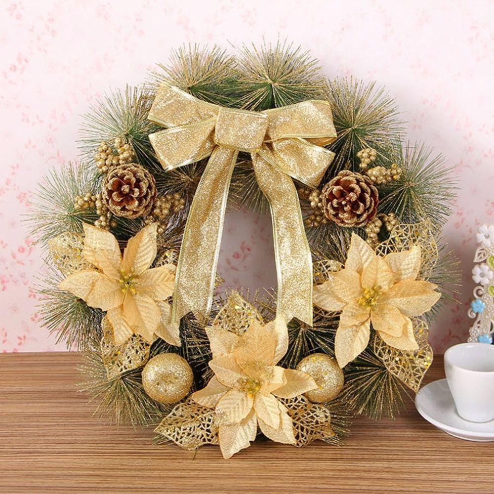 40 cm de Diámetro Arco Corona de Navidad Adornos Del Árbol de Agujas de Pino de Navidad Decoración Para El Hogar Fiesta Al Aire Libre Suministros