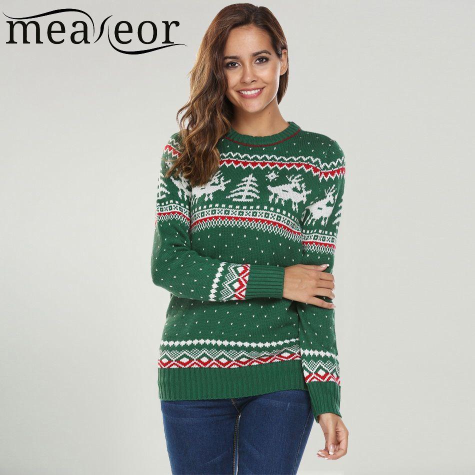 Meaneor Women Christmas Jesus Print Sweaters Casual Long Sleeve Autumn O Neck Deer Print Slim Pullover Sweater Winter Tops