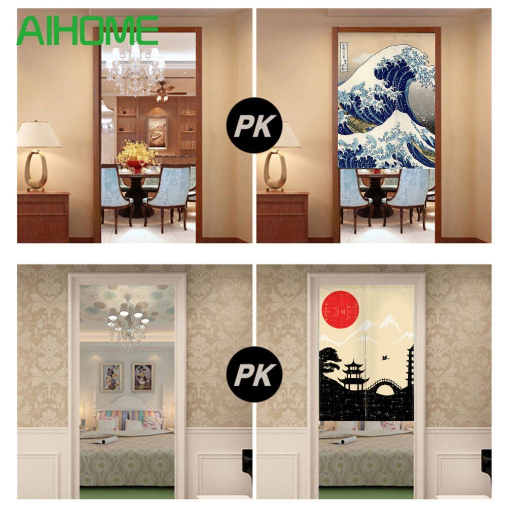 Landschaft Noren Japanischen Stil Tür Vorhang Leinwand Malerei Vorhang Tür Schlafzimmer Tür Vorhänge mit Verstellbaren Stab