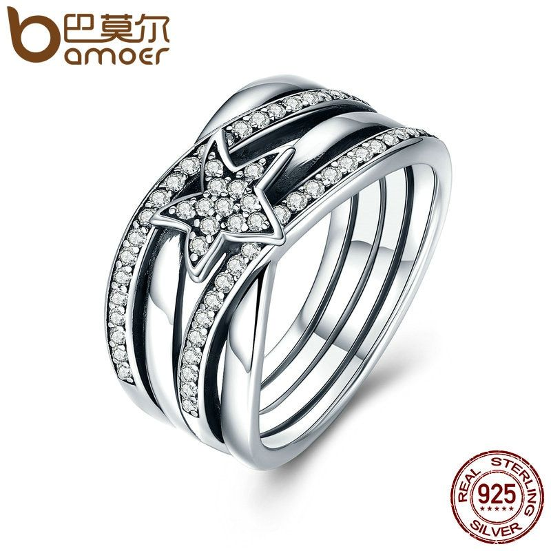 BAMOER Spring Collection 925 Sterling Silver Star Twisted Statement Ring For Women Engagement S925 Silver Jewelry SCR050