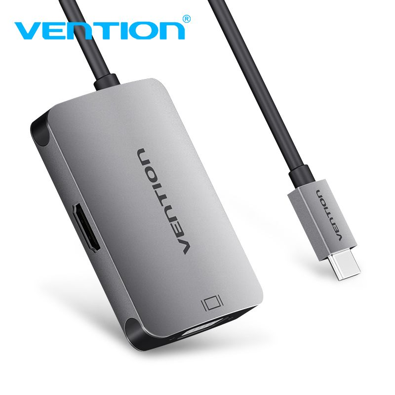 Vention USB C Type C to HDMI VGA Thunderbolt 3 Adapter for MacBook MacBook Chromebook Pixel Samsung Galaxy S9/S8 USB-C HDMI VGA