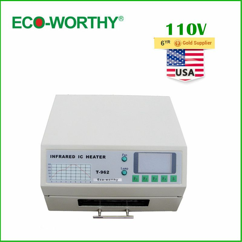ECO USA Stock 110V T962 Digital Auto Infrared IC Heater Reflow Oven SMD Solder BGA 180*235mm 800W