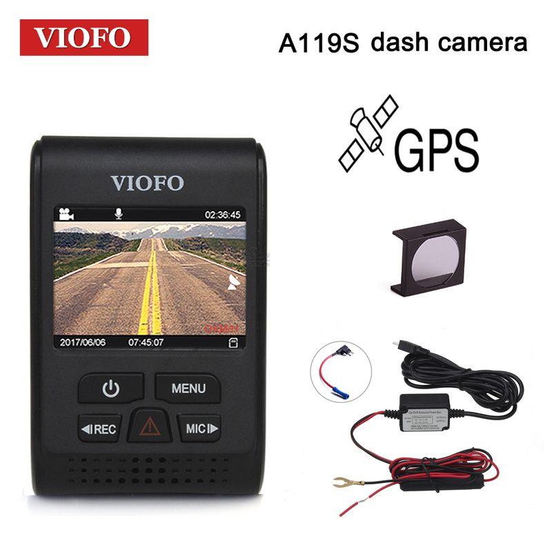 VIOFO Car DVRs A119S Upgraded V2 2.0 Super Capacitor <font><b>Dashcam</b></font> NT 96660 HD 1080P GPS Car Dash Camera CPL Hardwire Cable Fuse DVR