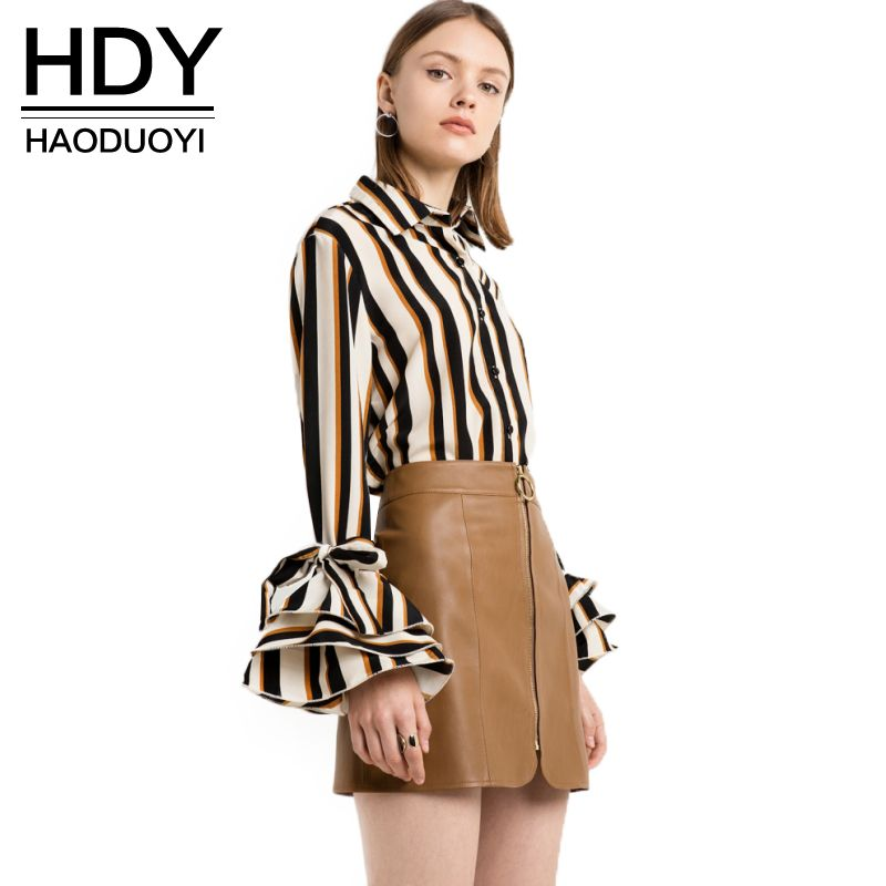 HDY Haoduoyi 2017 Nouvelle Mode Rayé Tops Femmes Flare Manches Femelle Unique Bouton Shirts Street Style Dames Blouses Chemises