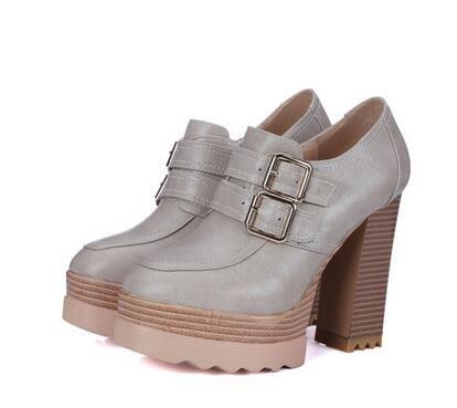 Nueva Primavera Otoño Zapatos de Punta Redonda Hebilla de Bombas de Las Mujeres Gruesas de Tacón Alto Zapatos de Plataforma Femeninos Ocasionales De Madera Zapatos de Fiesta BAOK-91cb