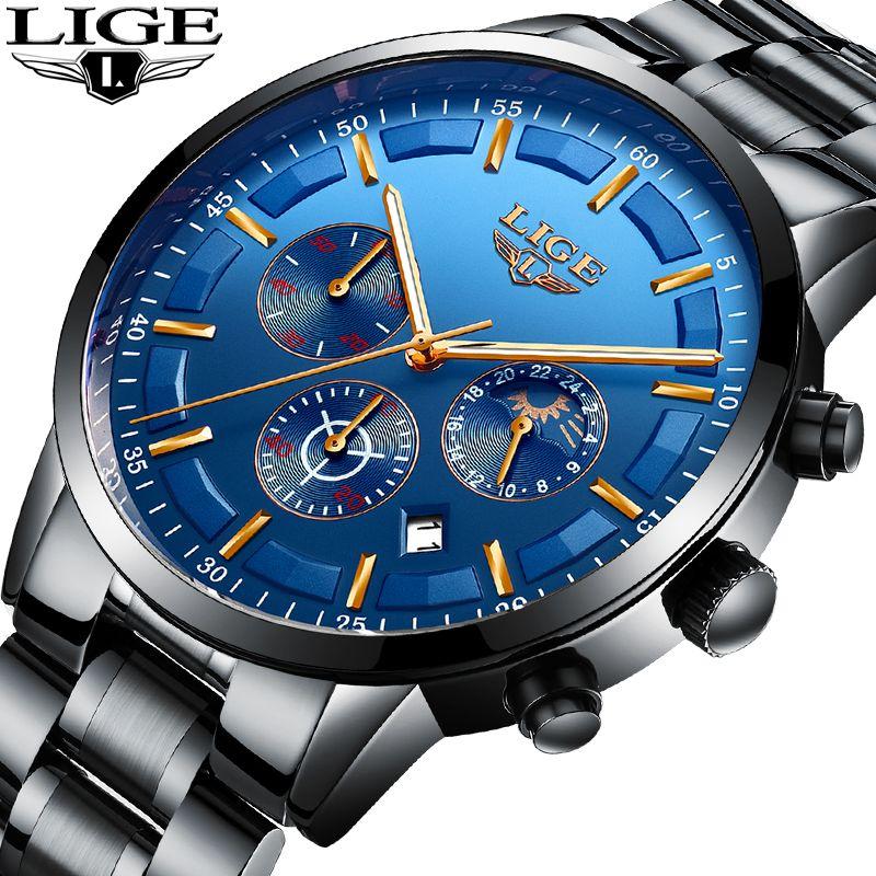 Men Watches LIGE Top Brand Luxury Chronograph Male Sport Watch Men Military Waterproof Full Steel Quartz Watch Relogio Masculino