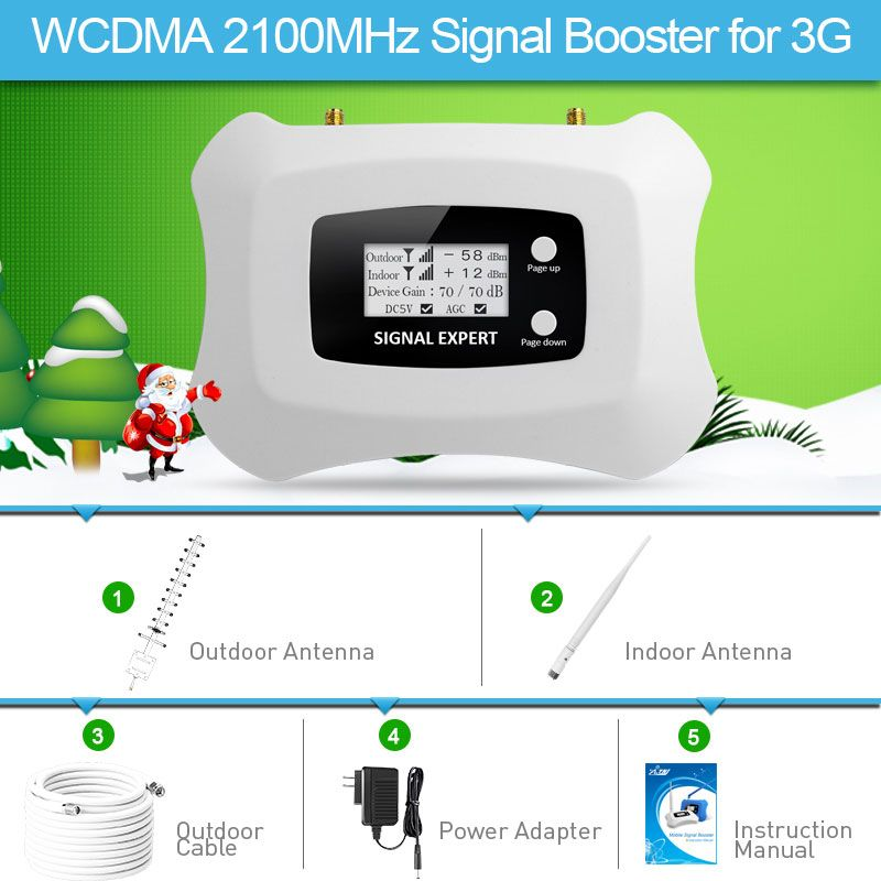 2018 Fashion Design 3G Signal Booster LCD UMTS 2100MHz Mobile Signal Repeater 3G Cell phone Amplifier Yagi+ Whip antenna kit
