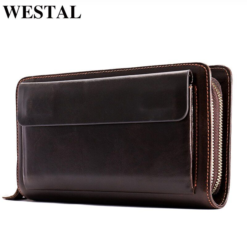 WESTAL Clutch Male Double Zipper Money Clip Wallet Men Clutch Bag Genuine Leather Men Wallets Phone Leather Man Wallet Long 9069