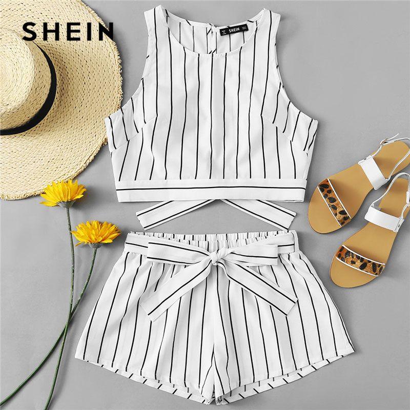SHEIN <font><b>Vertical</b></font> Striped Crop Top And Self Belt Shorts Set Women Round Neck Sleeveless Backless Button Women Boho 2 Piece Sets