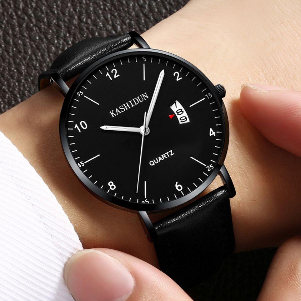 KASHIDUN Men's Watches Luxury Wristwatch For Men&Women 2018 Simple Fashion Quartz Watch Waterproof Calendar Date Thin&Slim Dial